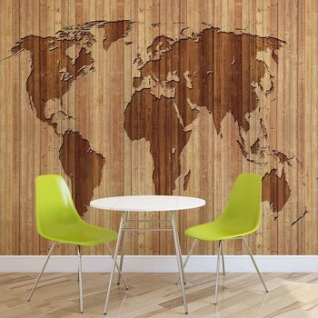 World Map Wood Wallpaper Mural