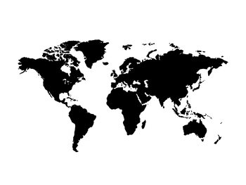 Worldmap black white background Wallpaper Mural