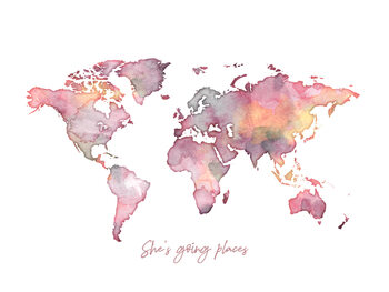 Worldmap she is going places Wallpaper Mural