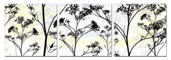 Wild Flower Silhouette Tableau Multi-Toiles