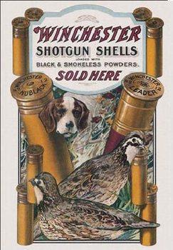 WIN - dog & quail Plaque métal décorée