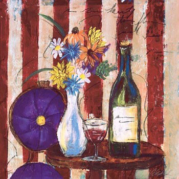 Wine & Flowers II Reproduction d'art