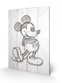Mickey Mouse - Sketched - Single Wooden Art
