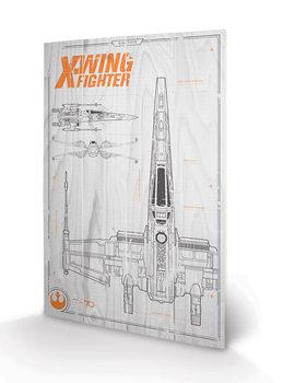Star Wars Episode VII - X Wing Plans Wooden Art