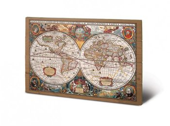 World Map - 17th Century Wooden Art