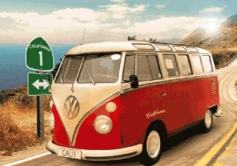 3D Julisteet Californian Camper - route