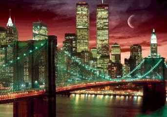 3D poster New York - skyline colour