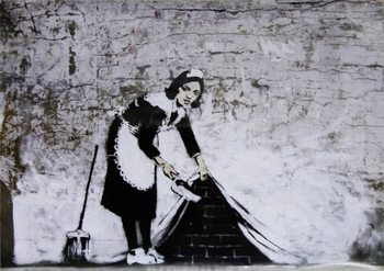 Banksy Street Art - Cleaning Maid Affiche