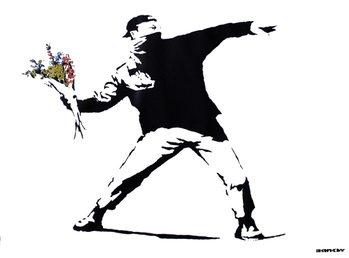 Banksy street art - graffiti throwing flowers Poster