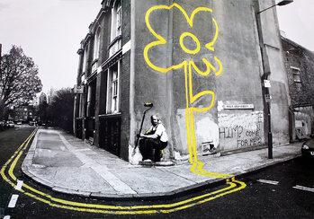 Banksy street art - yellow flower Affiche