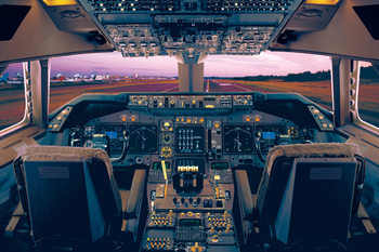 Boeing 747 - 400 flight deck Affiche