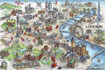 Carte Londres - Carte de Londres Affiche