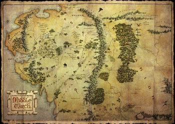Le Hobbit - Carte de la Terre du Milieu (mettalic) Affiche