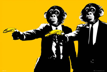 Monkeys - bananas Affiche