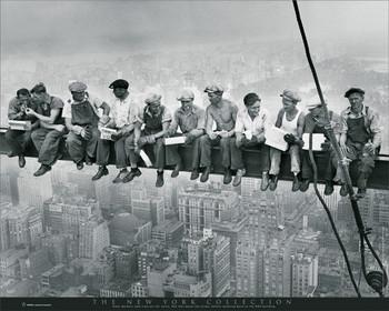 New York - men on girder Affiche