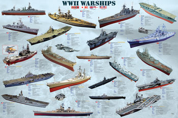 World war II - war ships Affiche