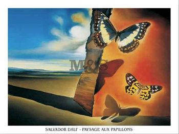 Impressão artística Paysage Aux Papillons
