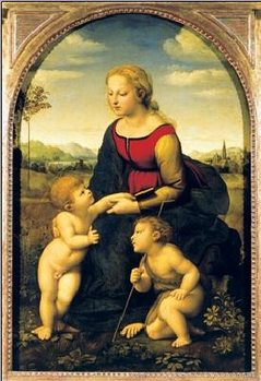 Impressão artística Raphael Sanzio - Madonna And Child With St. John The Baptist, 1507
