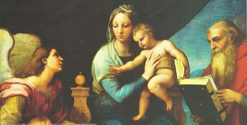 Impressão artística Raphael Sanzio - Madonna of the Fish - Madonna with the Fish, 1514 (part)