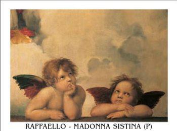 Impressão artística Raphael Sanzio - Sistine Madonna, detail – Cherubs, Angels 1512