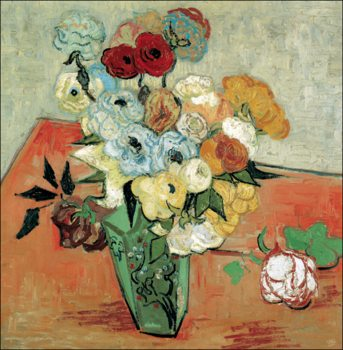 Impressão artística  Still Life: Japanese Vase with Roses and Anemones, 1890