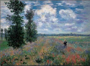 Impressão artística The Poppy Field in Summer near Argenteuil