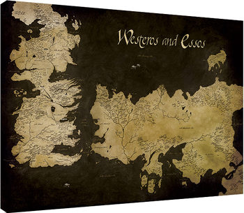 Game of Thrones - Westeros and Essos Antique Map Canvas Print