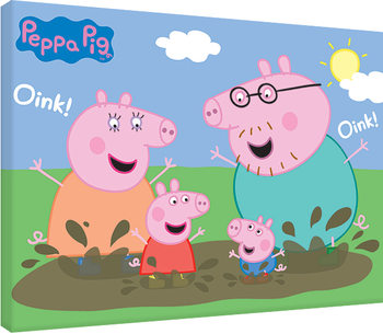 Pipsa Possu - Pig Family Muddy Puddles Canvas-taulu