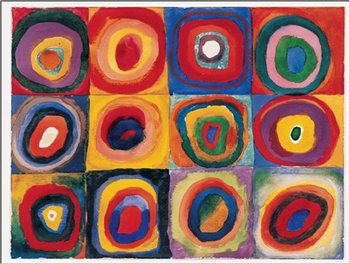 Color Study: Squares with Concentric Circles Reproduction d'art
