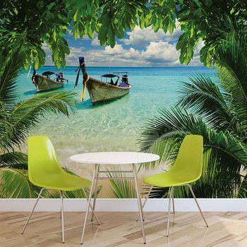 Papel de parede Beach Tropical Paradise Boat