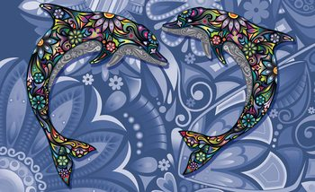 Papel de parede  Dolphins Flowers Abstract Colours