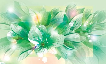 Papel de parede Flowers Nature Green
