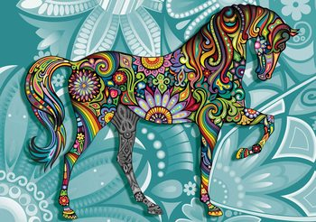 Papel de parede  Horse Flowers Abstract Colours
