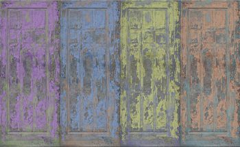 Papel de parede Rustic Painted Wood Doors
