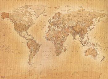 Decoração de parede Vintage World Map