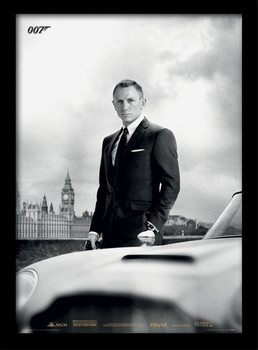 James Bond (Skyfall) - Bond & DB5 Poster encadré en verre