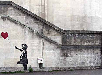 Juliste Banksy Street Art - Girl with Red Balloon Hope