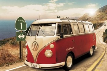 Juliste Californian camper - Route one