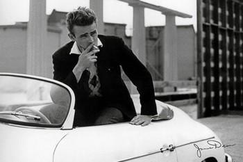 Juliste James Dean - white car