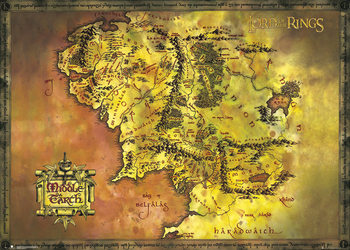 Juliste Taru sormusten herrasta - Classic Map