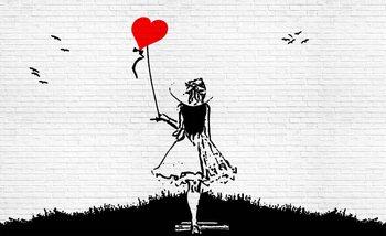 Brick Wall Heart Balloon Girl Graffiti Valokuvatapetti
