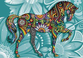 Horse Flowers Abstract Colours Valokuvatapetti