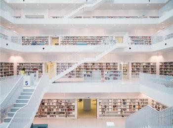 Kirjasto - White Kuvatapetti, Tapettijuliste