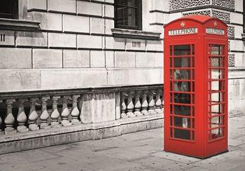 Lontoo - brittiläinen punainen puhelinkoppi Kuvatapetti, Tapettijuliste