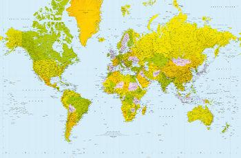 Maailmankartta - Poliittinen Kuvatapetti, Tapettijuliste