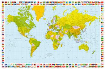 Maailmankartta - Poliittinen Kuvatapetti