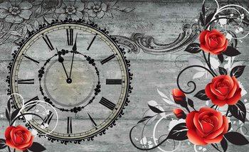 Kuvatapetti, TapettijulisteRoses Clock Wood Planks Vintage