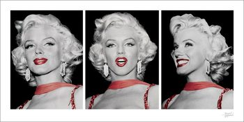 Marilyn Monroe - Red Dress Triptych Reproduction