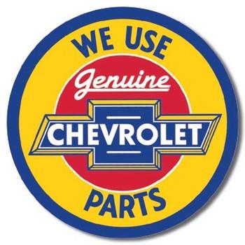 CHEVY - round geniune parts Metal Sign