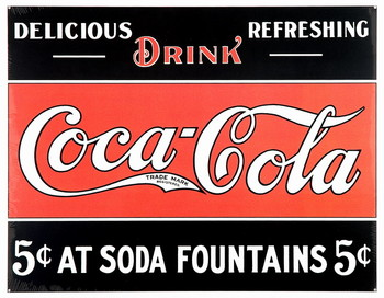 COKE 5c AT FOUNTAIN Metal Sign